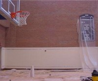 Indiana Pacer Practice Court Walls - After Paint removal - soft blast paint removal, containment, clean up