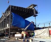 Indianapolis Motor Speedway Grandstands- Abrasive Blast and Paint Columns - Sandblast, Coating, Steel, Rust, Epoxy