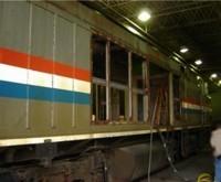 Amtrak Train Car - Beech Grove, IN - Before Sandblasting - Abrasive blast, coal slag, white blast