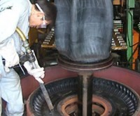 Dry Ice Blasting a Tire Mold