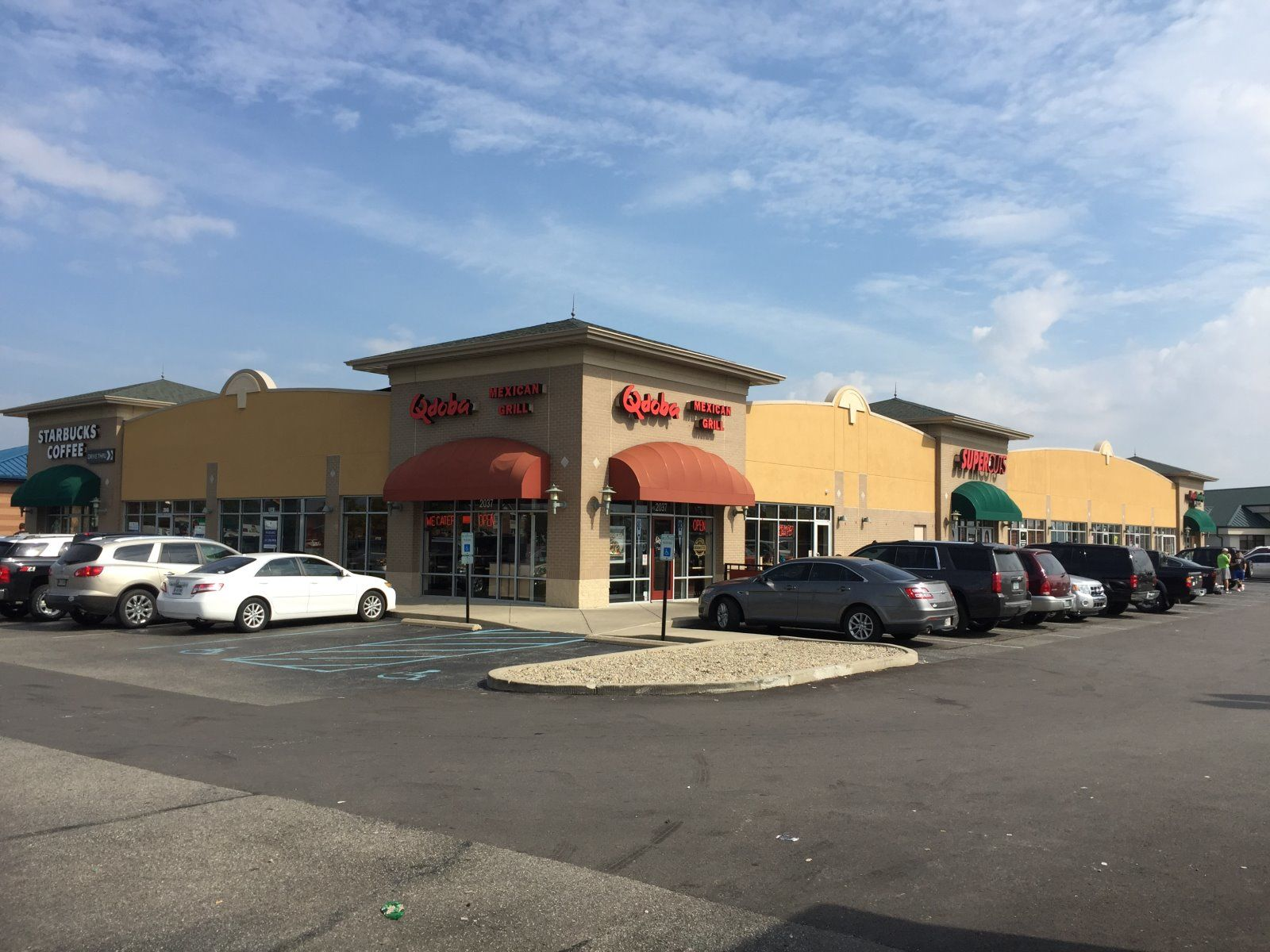 MidlandAtlantic - Greenfield, IN Strip Center - EIFS and Sealant After- caulk, stucco, commercial, real estate, sign hole repair