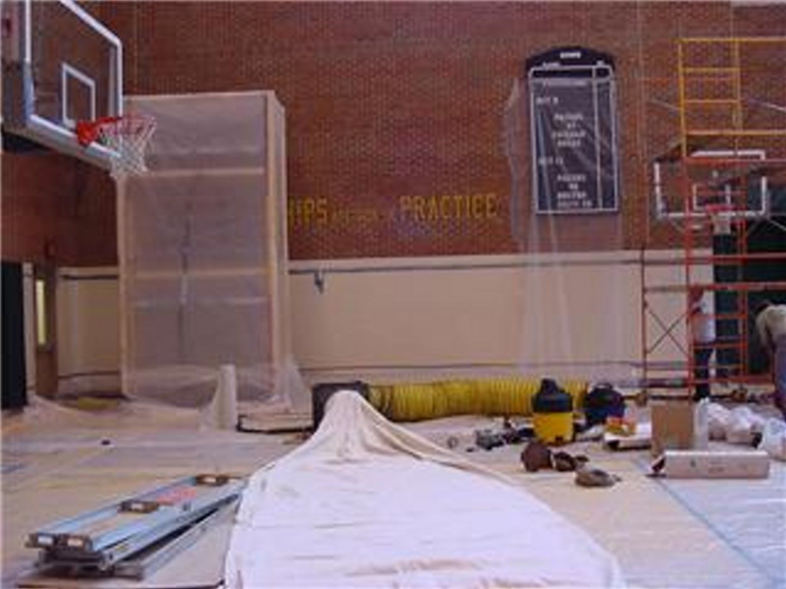 Indiana Pacers Practice Court Walls - Paint Removal - inside, abrasive soft blast, containment