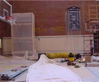 Indiana Pacers Practice Court - Indianapolis, IN - Paint Removal from Walls - inside, abrasive soft blast, containment